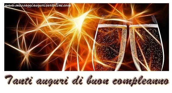 Tanti auguri di Buon Compleanno - Cartoline compleanno con champagne
