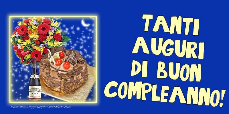 Tanti auguri di buon compleanno! - Cartoline compleanno con champagne