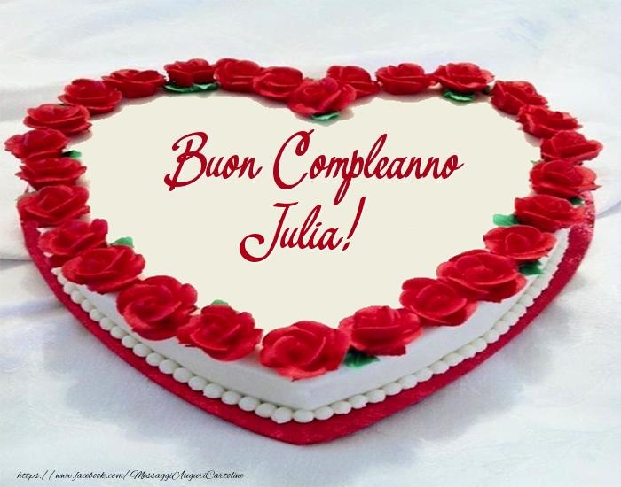 Torta Buon Compleanno Julia! - Cartoline compleanno con torta